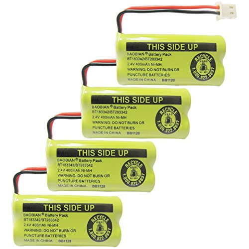 BAOBIAN 2.4V 400mAh Cordless Home Phone Battery Compatible with AT&T BT162342 BT-162342 BT166342 BT-166342 BT266342 BT-266342 BT183342 BT-183342 BT283342 BT-283342 VTech CS6329 CS6114 CS6419(4 Pack)