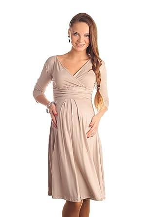 5513ac08ca060 Purpless Maternity Classic Pregnancy Dress Vneck A line 4400 (4, Beige)