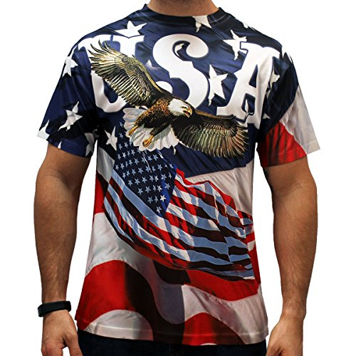 American Flag Sublimation Men's T-Shirts (Medium, EAGLIBERTY) ()