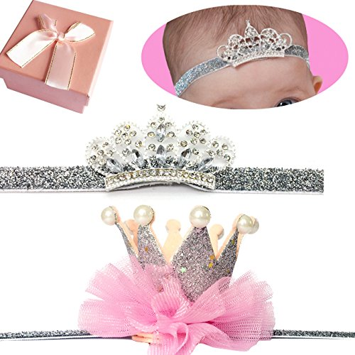 - Elesa Miracle Baby Hair Accessories Baby Girl's Gift Box with Shiny Tiara Crown Headband Set (2pc- Silver)