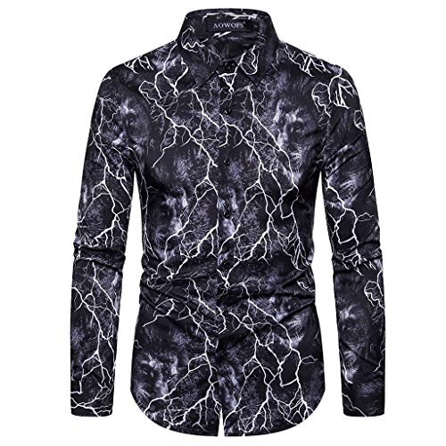 Uqiangy Mens Vintage Regular Fit Long Sleeve Dress Button Down Stand Collar Shirt Tops(Black,S) (Difference Between Wedding Cake And Regular Cake)