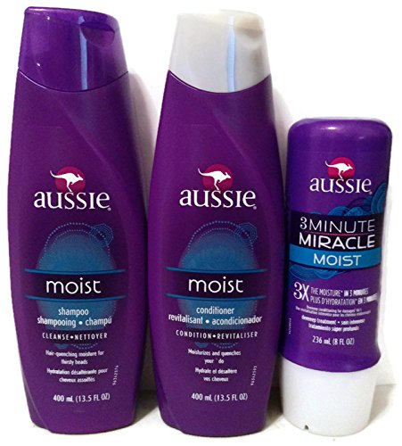 Aussie Moist Shampoo and Conditioner, 13.5 Ounce Each, Plus 3 (Aussie Moist Shampoo)