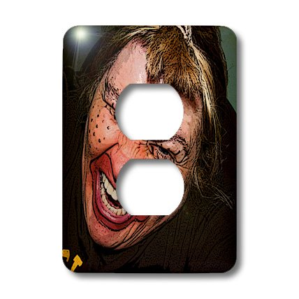 3dRose lsp_49539_6 Lady Dressed Up Like Ugly Clown for Halloween With Her Face Very Animated, Silly and Scary Outlet Cover