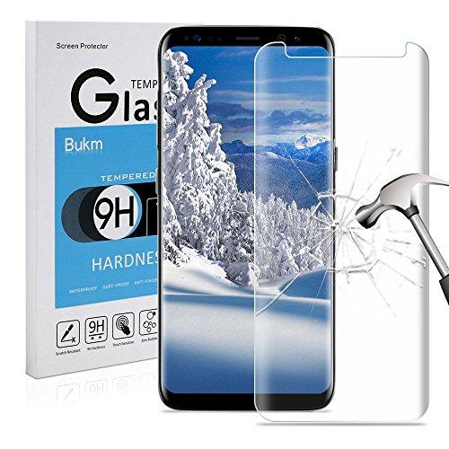 Galaxy S8 Protecteur d'écran, Bukm Samsung Galaxy S8 Verre Trempé écran Protecteur 9H Dureté Ultra Résistant Haute Définition Film Protection en Verre Trempé pour Galaxy S8 (Transparent)