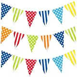20m Twin Pack by Robelli Multicolour Polka Dot /& Striped Plastic Bunting Decoration