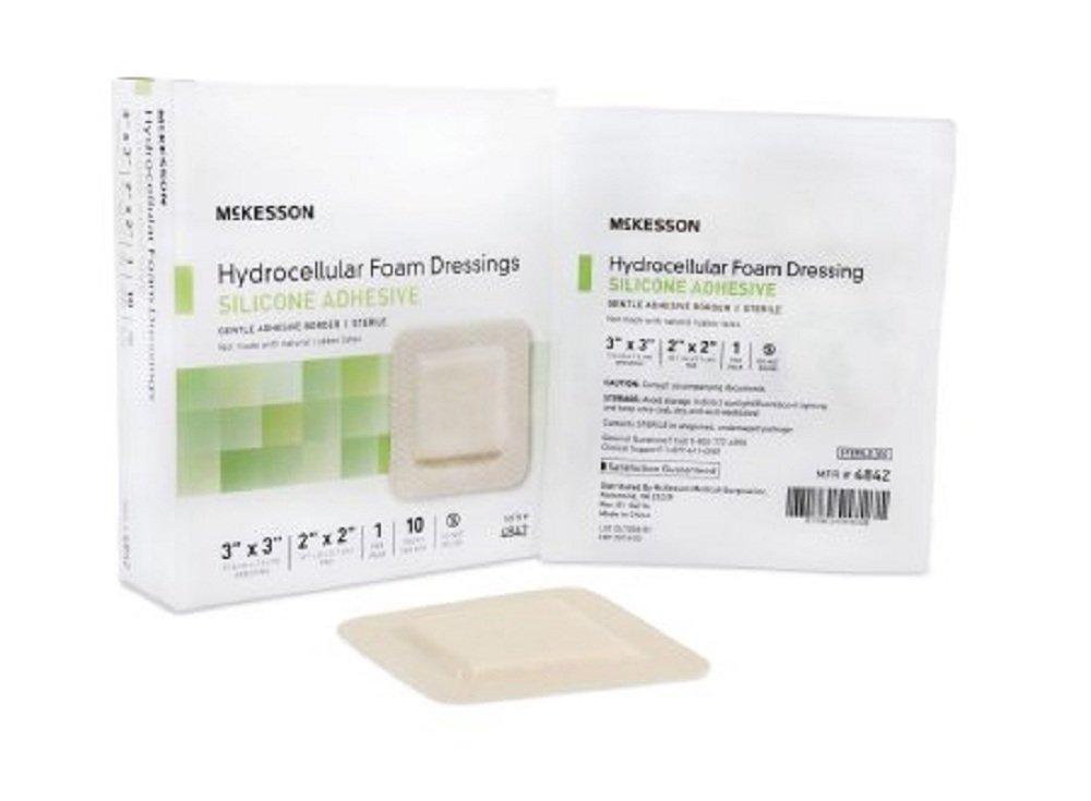 McKesson - Silicone Foam Dressing McKesson 7 X 7 Inch Sacral Adhesive with Border Sterile - 10/Box - McK