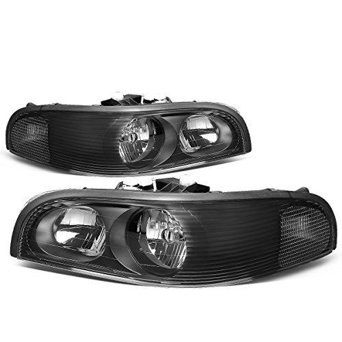 (For Buick Park Avenue Black Housing Clear Corner Headlight/Headlamps Left+Right)