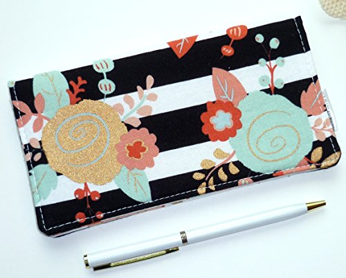 Metallic Checkbook Wallet - Checkbook Cover. Wallet. Receipt Holder - Piper Floral. Black & White Striped Floral in Mint, Gold, Coral