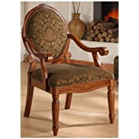 Arm Chairs- Create an Old World Style with This Beautifully Crafted Oval-tip Midnight Arm Chair. This Dining Room Home Furniture Chair Features a Cameo Back Design. The Classically Shaped Modern Accent Chair Is Made of Solid Wood.