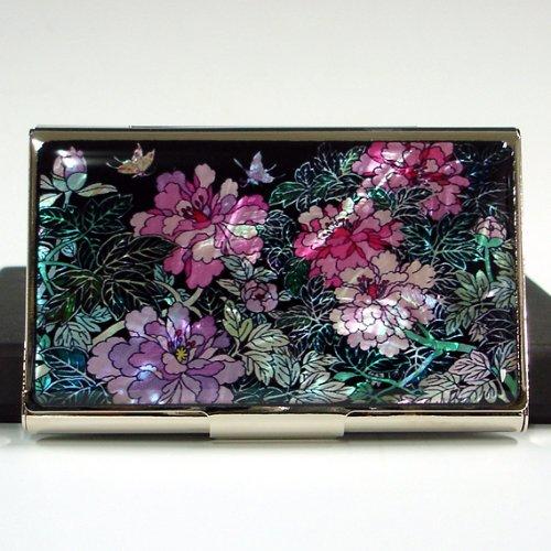 Antique Alive Mother of Pearl Peony Flower Design Business Credit Card Holder Metal Wallet (B118)