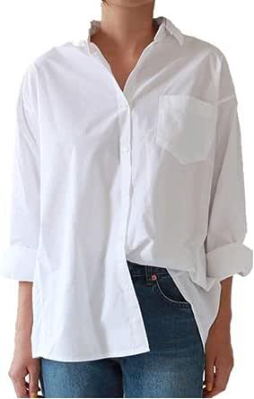 U/A Casual Mujeres Sueltas Camisas Cuello De Otoño Más Tamaño ...