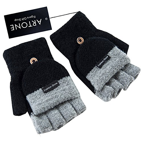 Artone+Warm+Knitting+Fingerless+Thermal+Insulation+Cycling+Winter+Gloves+with+Mitten+Cover+Black