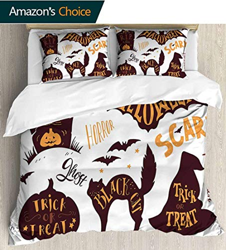 shirlyhome Vintage Halloween 3 Piece Quilt Coverlet Bedspread,Halloween Symbols Trick or Treat Bat Tombstone Ghost Candy Scary Bedding Set for Kids,Boys and Teens 68
