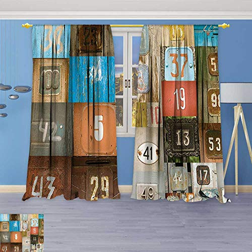 Once Iron Free 120 Tab - Philiphome Pattern Decor Artistic Window Curtain by, Rusty Metal Apartment Placards Nostalgic Once Upon A Time Themed House Door Number,Living Room Bedroom Decorations