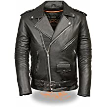 Milwaukee Leather Men's Classic Side Lace Police Style M/C Leather Jacket (Black, 12X)