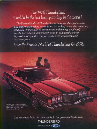 Ford Thunderbird Private World best luxury car ad 1976