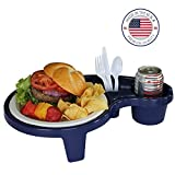 Arron Kelly  Party Pals  One Handed Drink Holder, Napkin, Cutlery & Food Serving Tray with Hidden Handle - Navy Blue - Breakfast Table for 1