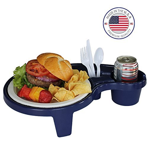 Arron Kelly  Party Pals  One Handed Drink Holder, Napkin, Cutlery & Food Serving Tray with Hidden Handle - Navy Blue - Breakfast Table for 1 (Happy Birthday Dallas Cowboys Fan)