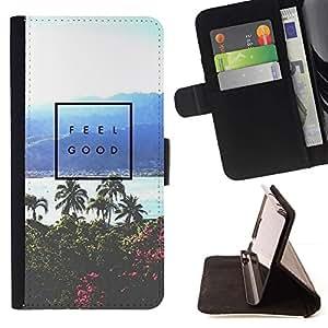 Momo Phone Case / Flip Funda de Cuero Case Cover - Affiche Palmier Tropical Sea - HTC DESIRE 816