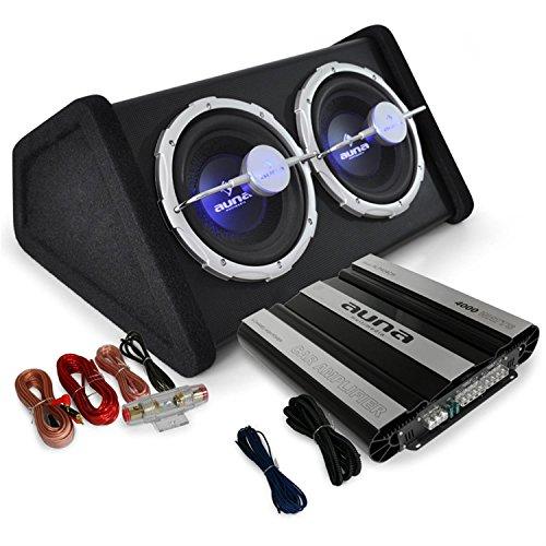Auto Hifi Boxenset Autoboxen Set Black Line 160 25cm TWIN-Subwoofer, satte 4000W Endstufen Power