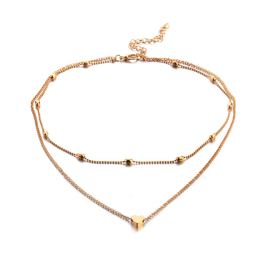 JczR.Y Simple Gold Silver Double Layer Choker Necklace Heart Multi-Layer Clavicle Chain Necklace for Women