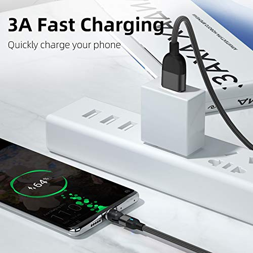 6.6 feet Cable CompuPort I Products Type C 3 Amp Fast Magnetic Charging Data Cable 540/° Rotating Magnetic Charger 3-in-1 L-Shape /& Straight use for Android Newest 2021 Generation