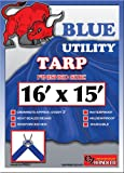 16ft x15ft Blue 6-mil Waterproof Poly Tarp Camp Tarp Tarpaulin for Camping Tent Shelter Shade Canopy