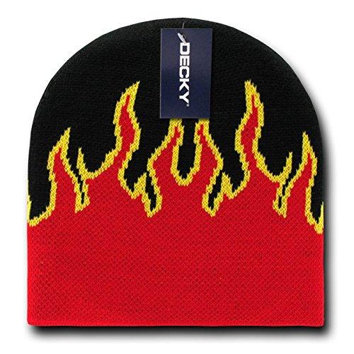 DECKY Fire Beanie, Black/Red Beanie Hat Choppers