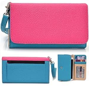 EXXIST® Classic Metro Series. Faux Leather Wallet / Clutch for Coolpad 7295 (Color: Magenta / Light Blue) -ESMLMTBM