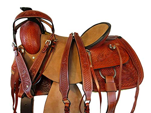 Tooled Roper Breast Collar - Rough Out Leather Ranch Roper Working Premium Tooled Horse Western Saddle 15 16 17 (15)
