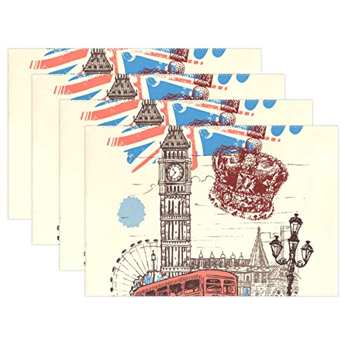 Jereee England London Symbols Set of 1 Placemats Heat-Resistant Table Mat Washable Stain Resistant Anti-Skid Polyester Place Mats for Kitchen Dining Decoration ()
