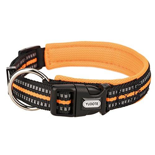 YUDOTE Reflective Dog Collars, Nylon Collar with Soft Mesh Padded - 4 Colors Adjustable Seatbelt for Pets Outdoor & Night Safety - Orange,Medium