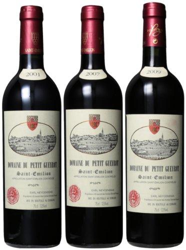 Domaine Du Petit Gueyrot Bordeaux Red Blend Saint Emilion 2001-2007-2009 Mixed Pack, 3 x 750 mL - Saint Emilion 2004