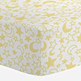 Carousel Designs Banana Yellow Moon and Stars Crib Sheet - Organic 100% Cotton Fitted Crib Sheet - Made in The USA