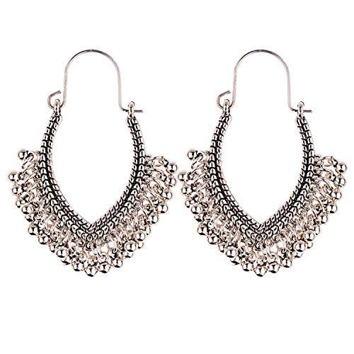 (Metal Vintage Tassel Earrings Fashion Boho Antique Ethnic Silver Drop Earrings,Absolutely)