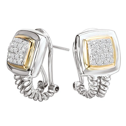 Enchanta Collection Sterling Silver & 14K Square Earrings with - Earrings 14k Etruscan