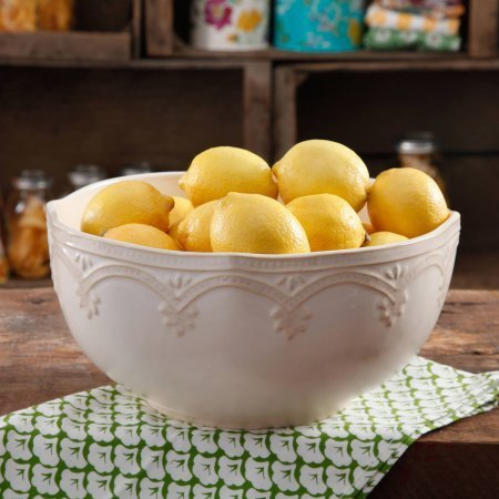 (The Pioneer Woman Farmhouse Lace 10 Linen Serving Bowl (1))