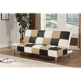 King's Brand Brown Black and White Vinyl Checkered Klik Klak Sofa with Adjustable Back Futon Bed Sleeper