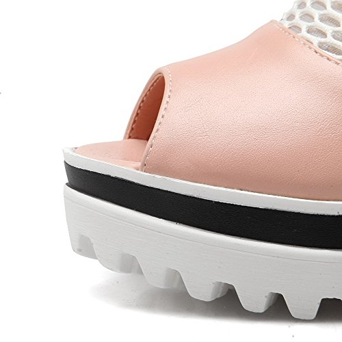 AgooLar Women's Zipper Peep Toe High Heels Solid Sandals Pink CWboX