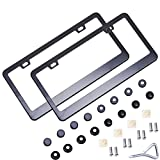 Orion Motor Tech 2-Piece Matte Stainless Steel License Plate Frame Black, 28pcs Screw Caps Include