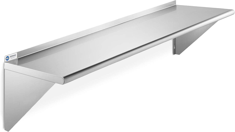 "GRIDMANN NSF Stainless Steel 12"" x 60"" Kitchen Wall Mount Shelf Commercial Restaurant Bar w/ Backsplash"