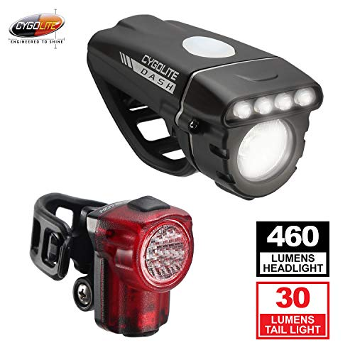 - Cygolite Dash 460 Lumen Headlight & Hotshot Micro 30 Lumen Tail Light USB Rechargeable Bicycle Light Combo Set