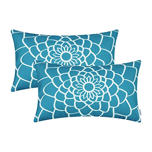 (CaliTime Pack of 2 Soft Canvas Bolster Pillow Covers Cases for Couch Sofa Home Decor Dahlia Floral Outline Both Sides Print 12 X 20 Inches Lake Blue)