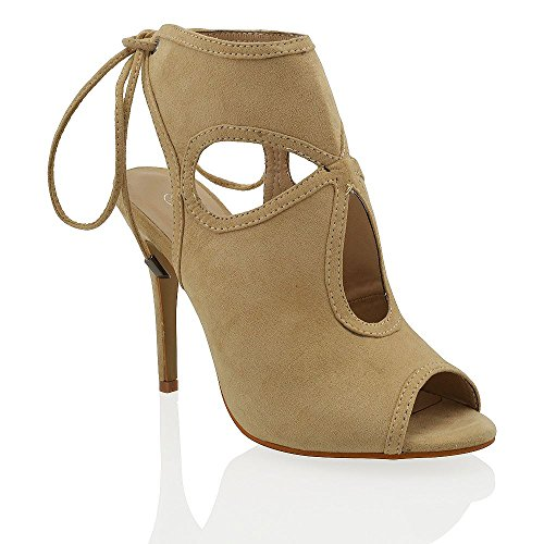 Essex Glam Womens Cut Out Beige Faux Suede Peep Toe Sandals 8 B(M) US