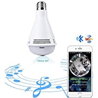 Quanmin Smart VR Panoramic HD 360° Wide Angle Fisheye Wireless Wi-fi E27 LED Light Bulb With Bluetooth For IOS Android APP Remote View Hidden Home Security CCTV IP Camera System