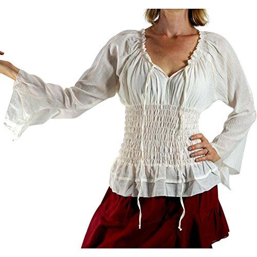 'Long Sleeve Peasant Blouse' - Womens Renaissance, Gypsy Costume, Boho - Cream by Zootzu (Image #1)