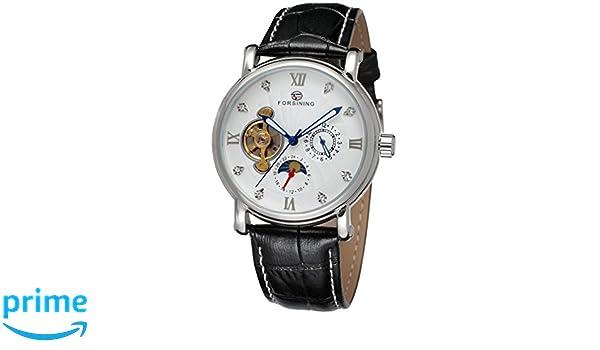 forsining fase de la luna de piel auténtica hombre automático reloj de pulsera fsg800 m3s9: Amazon.es: Relojes