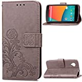 "LG Nexus 5(4.95"")case,Google 5 case,Bujing Gray Pattern Premium Synthetic Leather+Soft TPU Printing Stand Card Slot Wallet Case Only For LG Nexus 5/Google 5(4.95"")(2013)"