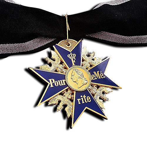 GRAND Pour Le Merite 24k Gold Plated Cross Medal Blue Max Highest Honor + Ribbon (Star Styled Costumes)