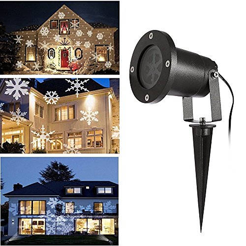 Christmas LED Projector Lights, URcare Waterproof White Snowflake Landscape Spotlight Show for Indoor Outdoor Garden, Lawn, Holiday Decoration (White)